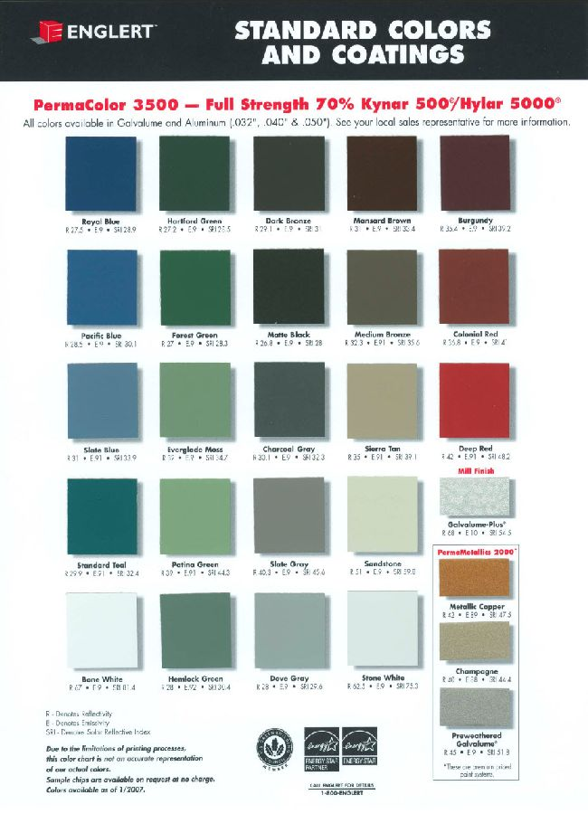 Englert metal roofing color chart