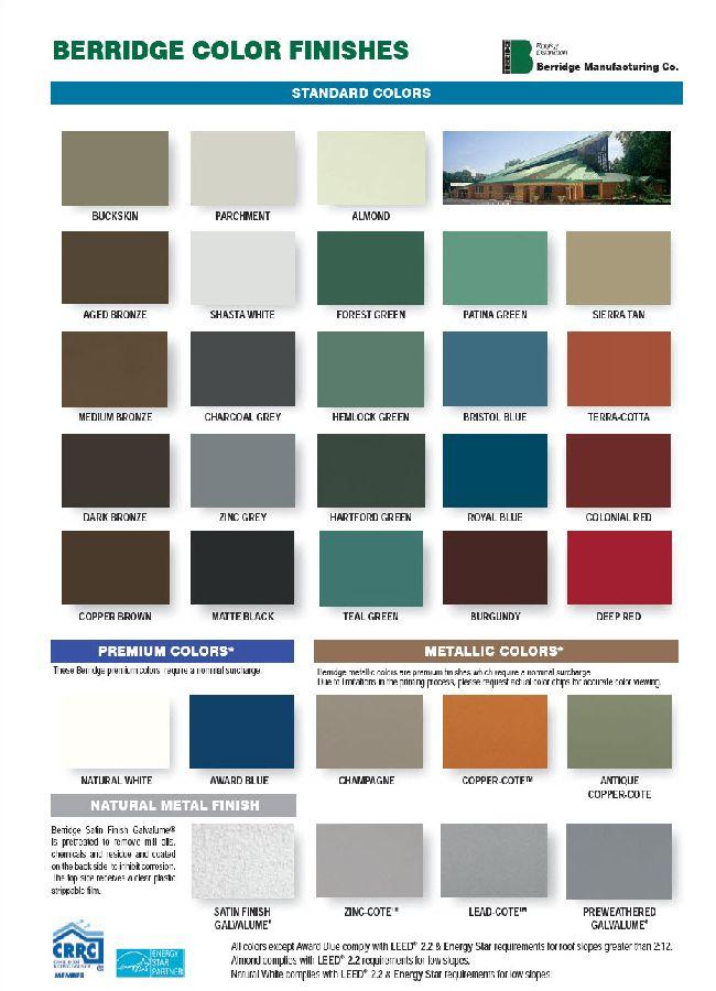 Berridge Metal Roofing Color Chart