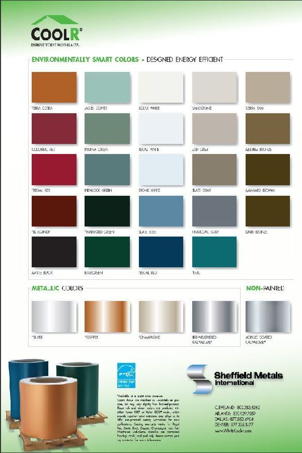 Coolr Metal Roofing Color Chart